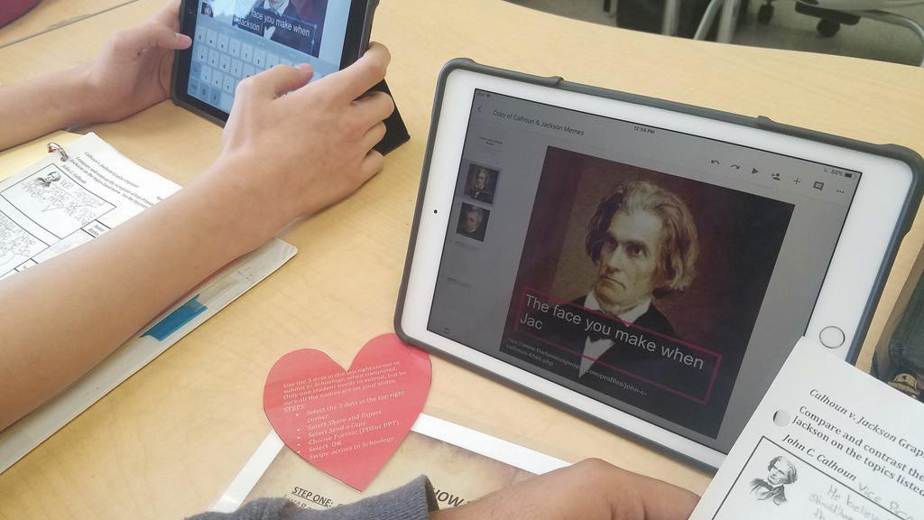 "a student editing a picture of a historical figure with the ""your face when"" meme"