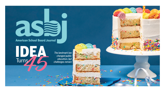 "an image of the january ASBJ cover, which has a birthday cake and the headline ""IDEA turns 45"""