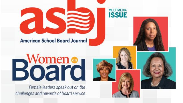 "a collage of women school board members with the ASBJ logo and feature story title ""Women on Board"""