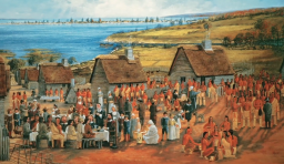 a painting of native americans meeting with europeans