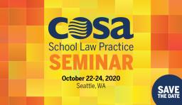 a colorful block that says COSA school law practice seminar