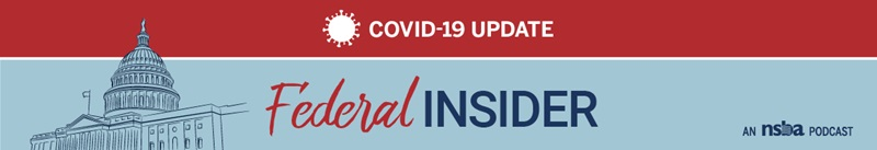 "An outline of capitol hill with the words ""COVID-19 Update"" and ""Federal Insider"""