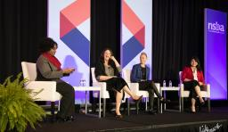 nsba's verjeana jacobs moderates a panel of speakers at 2020 equity symposium